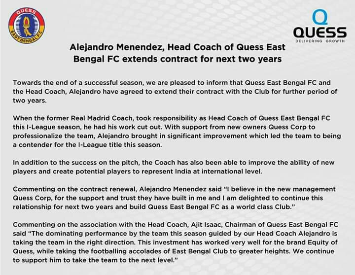 Alejandro Menéndez, Head Coach of Quess East Bengal FC extends contract for next two years. fb img 1552068359229 2027026589