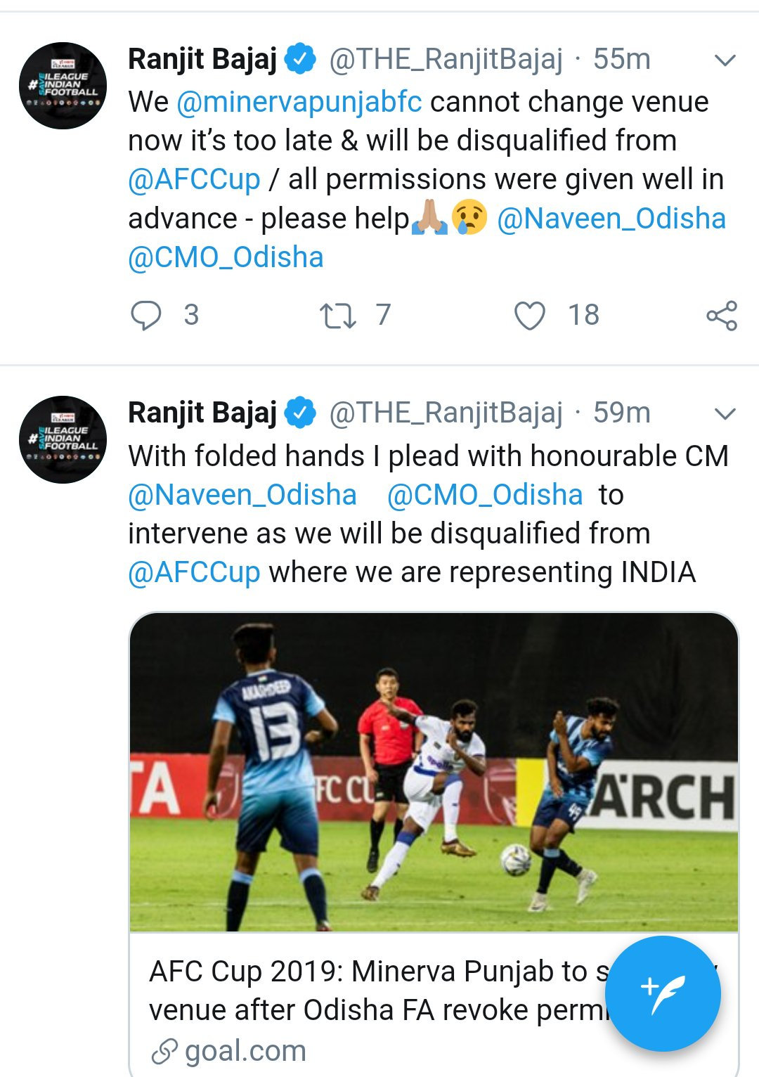 Minerva Punjab FC is going to shut ? Ranjit Bajaj Drops Tweet Bomb ! screenshot 20190405 14355926762470701038394831.