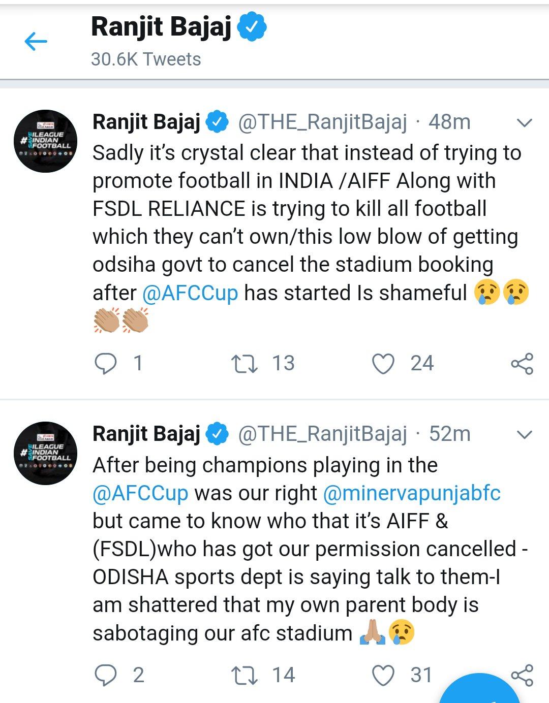 Minerva Punjab FC is going to shut ? Ranjit Bajaj Drops Tweet Bomb ! screenshot 20190405 14362322094165735901702263.