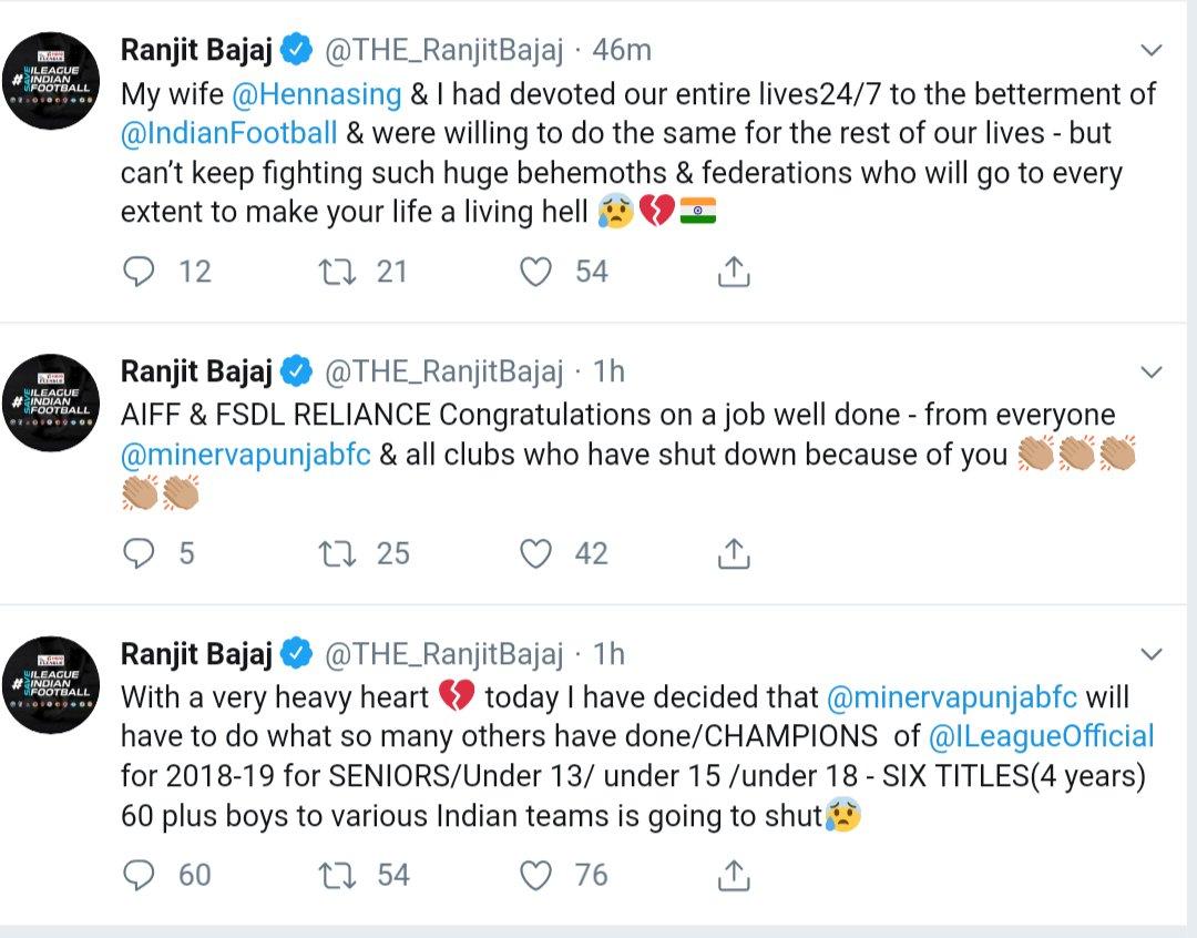 Minerva Punjab FC is going to shut ? Ranjit Bajaj Drops Tweet Bomb ! screenshot 20190405 14585123325185697462614657.