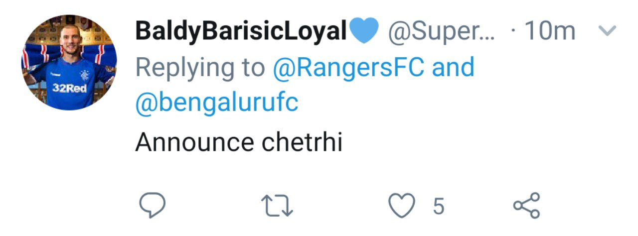 Twitter reactions on Bengaluru FC's tie up with Rangers FC by Scottish fans. 20190927 1949595555715493539104595