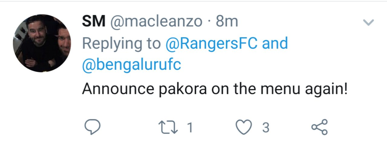 Twitter reactions on Bengaluru FC's tie up with Rangers FC by Scottish fans. 20190927 1951483447611988151132599