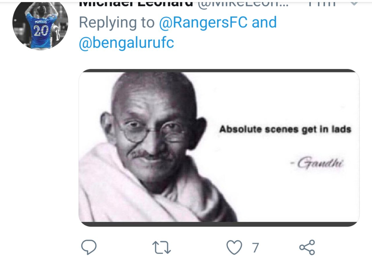 Twitter reactions on Bengaluru FC's tie up with Rangers FC by Scottish fans. 20190927 1952049119350564144160195