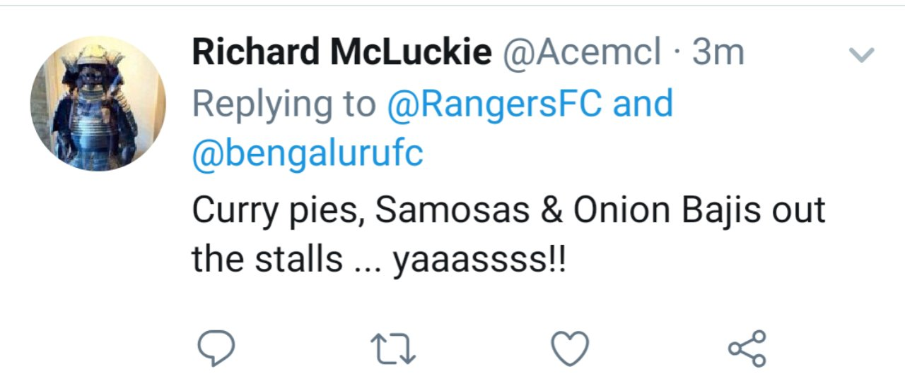 Twitter reactions on Bengaluru FC's tie up with Rangers FC by Scottish fans. 20190927 1952165279461274485594450