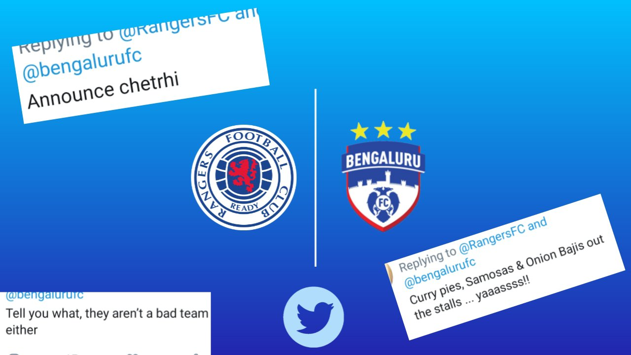 Twitter reactions on Bengaluru FC's tie up with Rangers FC by Scottish fans. 20190927 2012195697332898064946061