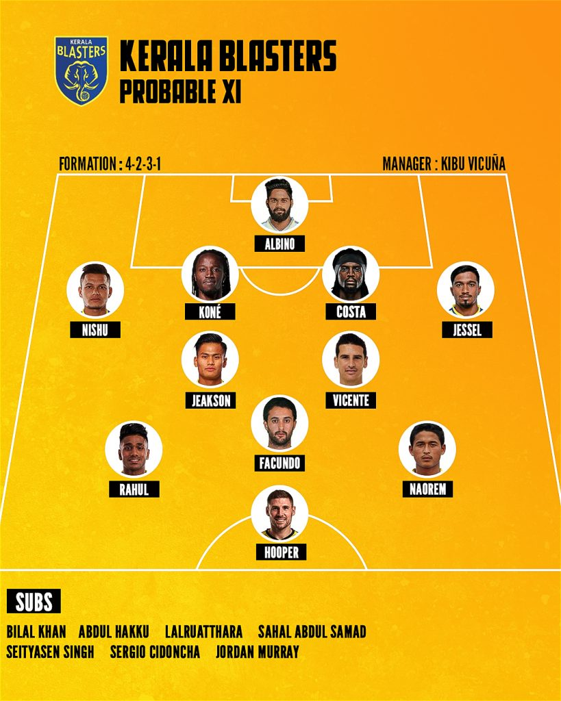 Kerala Blasters FC - Team Preview and Probable XI PROBABLE XI FINAL