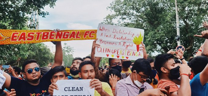 East Bengal Supporters Protesting